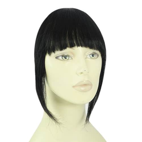 clip in pony fringe jet black