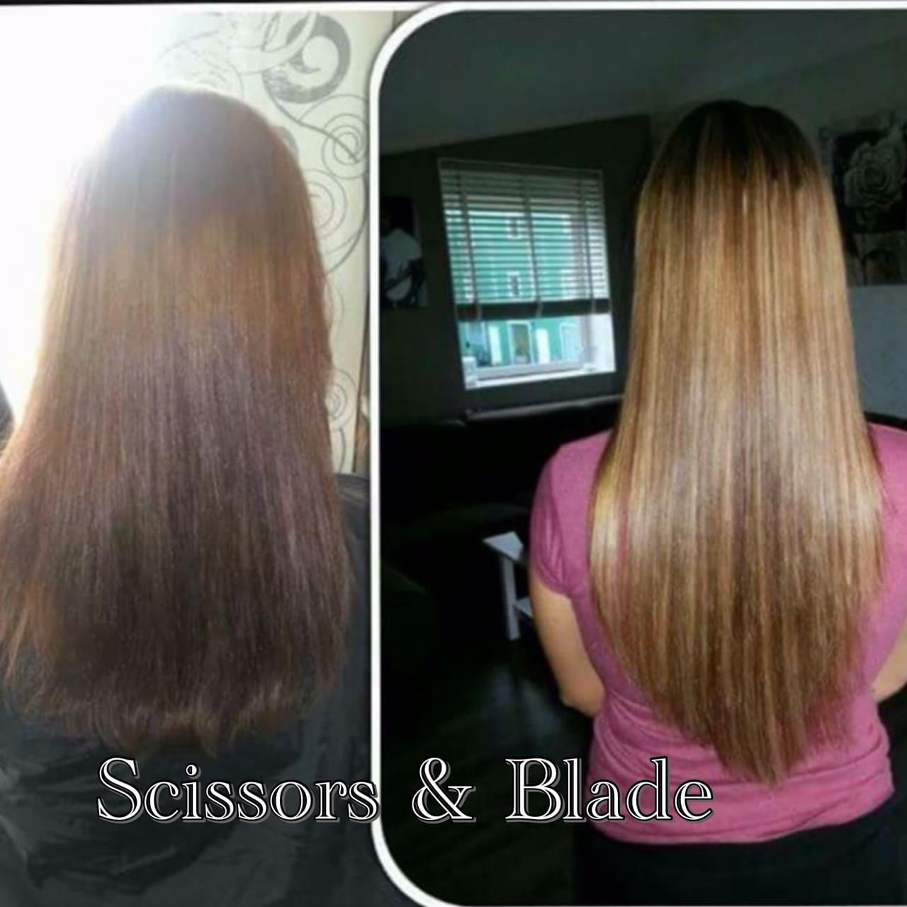 scissors-blade hair weave