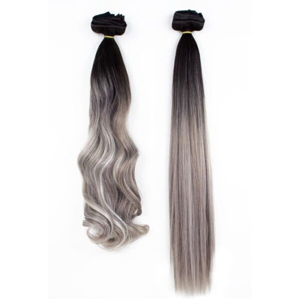 Silver-Ombre-clip-in-extensions-wavy